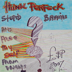 Think Perfeck<br>Biro pen and permanent marker pen on paper, 42 x 42 cm